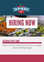 OPAA is Hiring Kitchen Subs